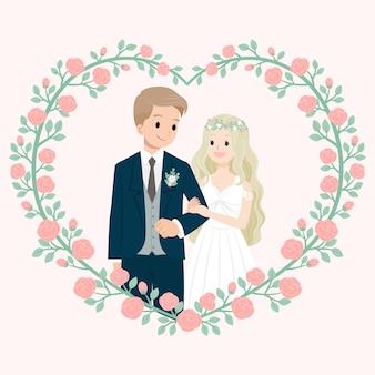 Hochzeitsehe mit rosafarbenem blumenrahmen