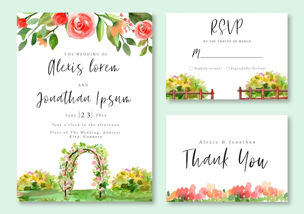 Hochzeitseinladung aquarell-landschaft-grüner romantischer rosen-rosa garten
