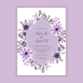 Hochzeitseinladung aquarellmalerei blume lila
