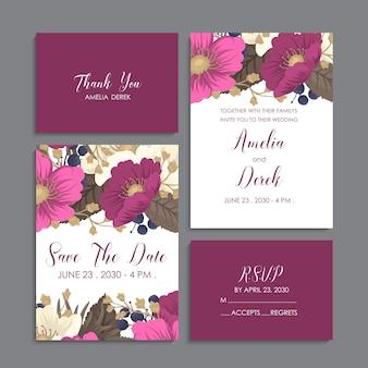 Hochzeitseinladung, danke zu kardieren, speichern die datumskarten.