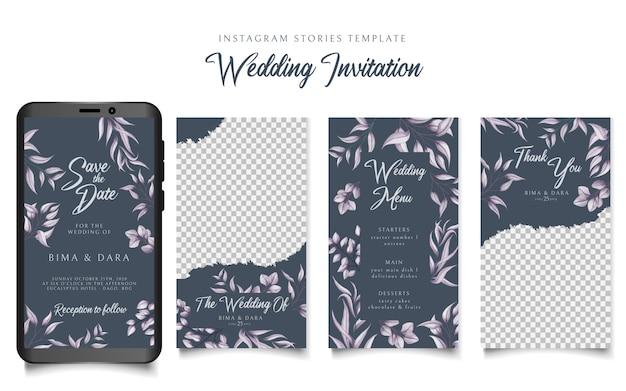 Hochzeitseinladung der instagram-geschichtenschablone mit blumenrahmen
