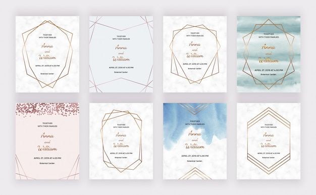 Hochzeitseinladung des marmorentwurfs mit geometrischen polygonalen goldlinien, konfetti, rahmen und aquarellbeschaffenheit.
