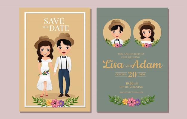 Hochzeitseinladung die braut und bräutigam niedlichen paar zeichentrickfigur.