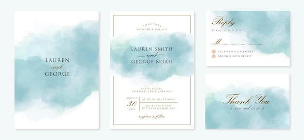 Hochzeitseinladung eingestellt mit abstraktem blauem hintergrund