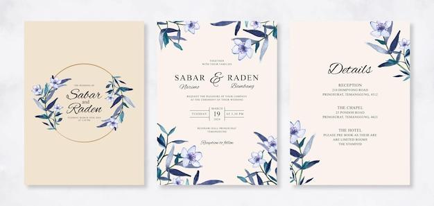 Hochzeitseinladung eingestellt mit aquarellblumen