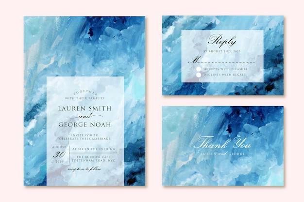 Hochzeitseinladung eingestellt mit blauem abstraktem malhintergrund