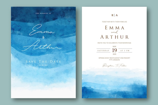 Hochzeitseinladung eingestellt mit blauem aquarelle ozean