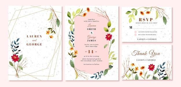 Hochzeitseinladung eingestellt mit blumengartenaquarell