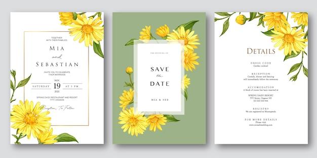 Hochzeitseinladung eingestellt mit mit gelber schöner aquarellblume