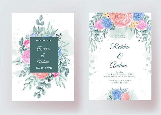 Hochzeitseinladung eingestellt mit ranunkelblumengartenaquarell