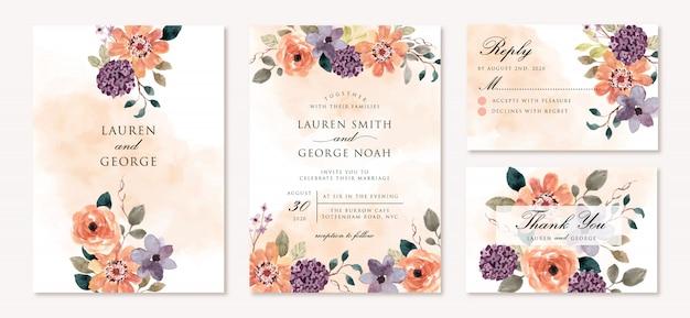 Hochzeitseinladung eingestellt mit schönem lila orange blumenaquarell