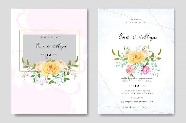 Hochzeitseinladung eingestellt mit schönen blumenblättern