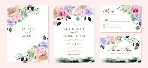 Hochzeitseinladung eingestellt mit schönen weichen blumenaquarell
