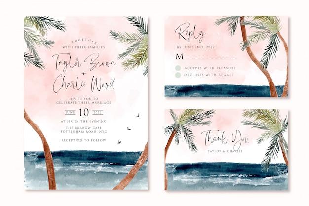 Hochzeitseinladung eingestellt mit strand tropische palme aquarelllandschaft Premium Vektoren