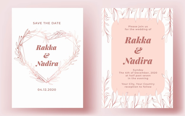 Hochzeitseinladung elegante goldene rosa herzhand gezeichnet