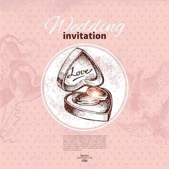 Hochzeitseinladung. handgezeichnete abbildung