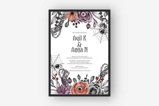 Hochzeitseinladung happy halloween-rahmen mit beängstigenden blumenaugen