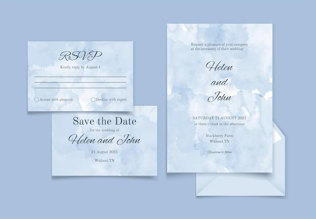 Hochzeitseinladung im aquarellstil mit blauen blumen
