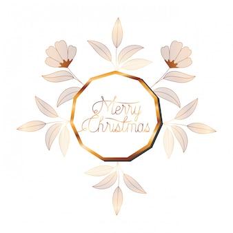 Hochzeitseinladung im rahmen golden mit blumen