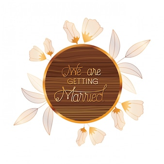 Hochzeitseinladung im rahmen von hölzernem