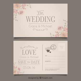 Hochzeitseinladung in postkartenstil