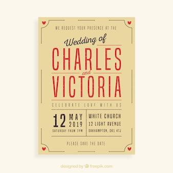 Hochzeitseinladung in vintage-stil