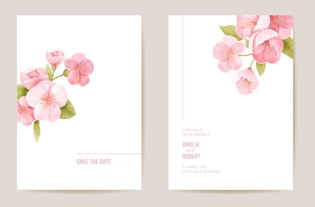 Hochzeitseinladung kirsche sakura-blüte, blumen, blätter karte. realistischer minimaler vorlagenvektor. botanisches save the date laub modernes poster, trendiges design, luxuriöser hintergrund