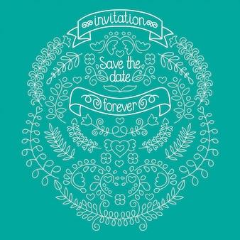 Hochzeitseinladung, lorbeer, kränze, pfeile, bänder, herzen und blumen