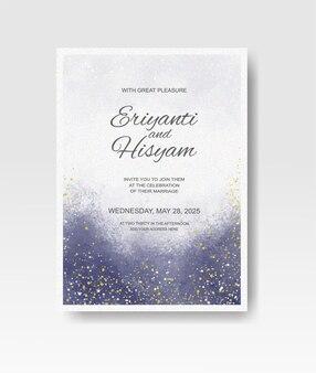 Hochzeitseinladung mit abstraktem spritzaquarell