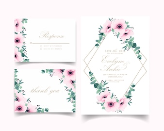 Hochzeitseinladung mit Anemonenblüten und Eukalyptus