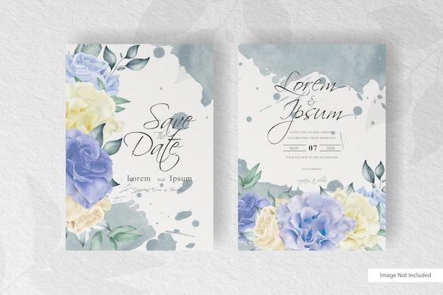 Hochzeitseinladung mit aquarell blumen und spritzer