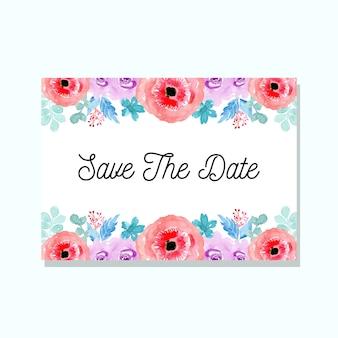Hochzeitseinladung mit aquarell floral
