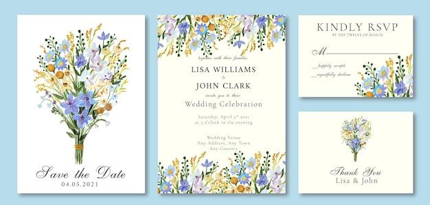Hochzeitseinladung mit aquarell-frühlings-thema