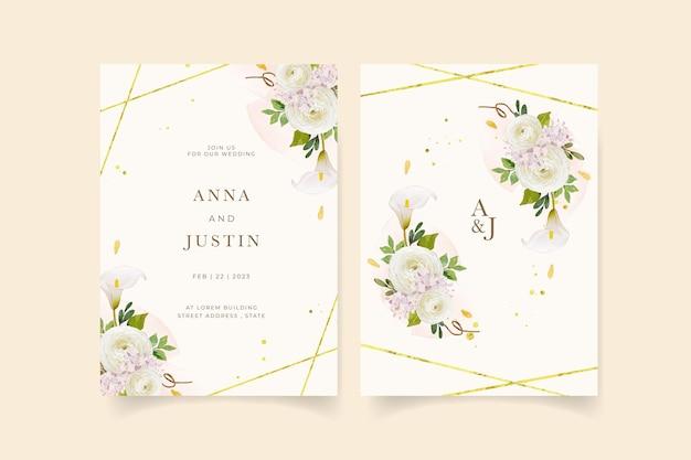 Hochzeitseinladung mit aquarell gelber rosenlilie und ranunkelnblume