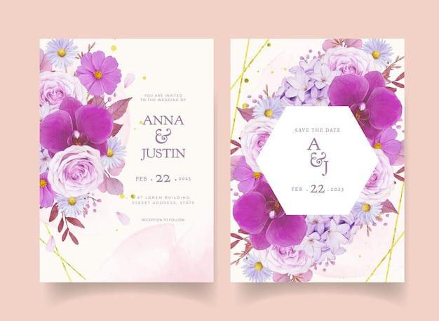 Hochzeitseinladung mit aquarell lila rose und orchidee