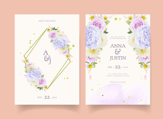 Hochzeitseinladung mit aquarell lila rosen dahlie und hortensie blume Premium Vektoren