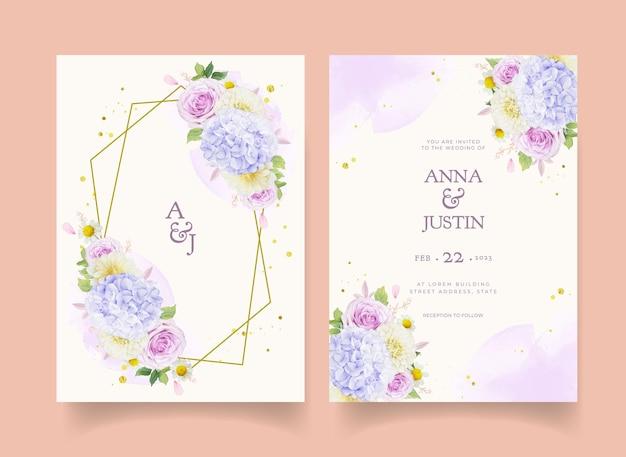 Hochzeitseinladung mit aquarell lila rosen dahlie und hortensie blume