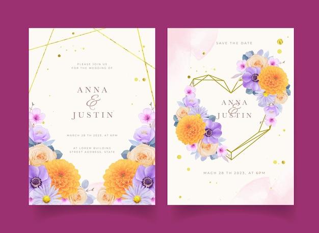 Hochzeitseinladung mit aquarell lila und gelben blumen
