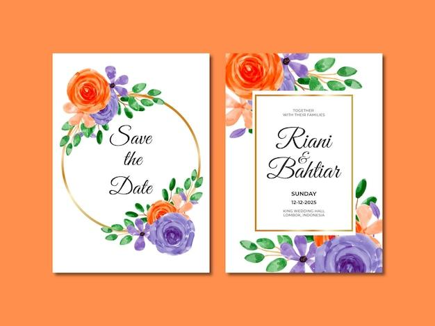 Hochzeitseinladung mit aquarell orange lila blumen