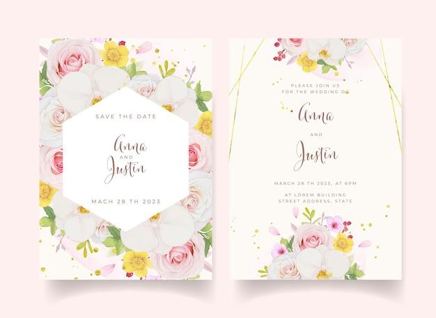 Hochzeitseinladung mit aquarell rosa rose und orchidee