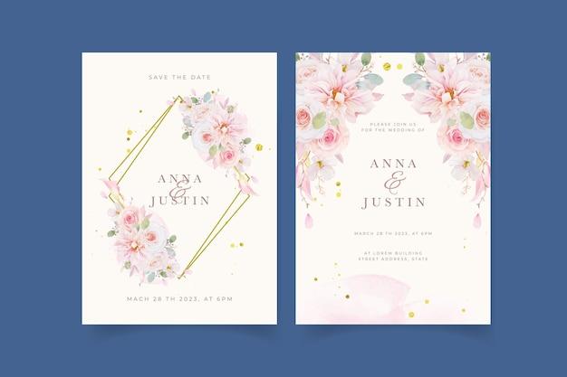 Hochzeitseinladung mit aquarell rosa rosen dahlie und lilienblume
