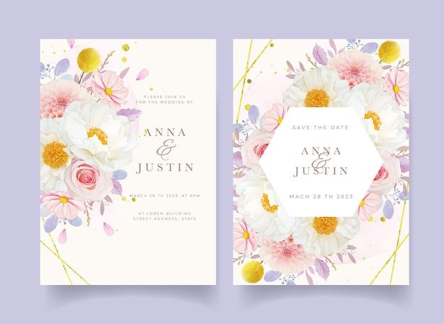 Hochzeitseinladung mit aquarell rosa rosen dahlie und pfingstrose blume