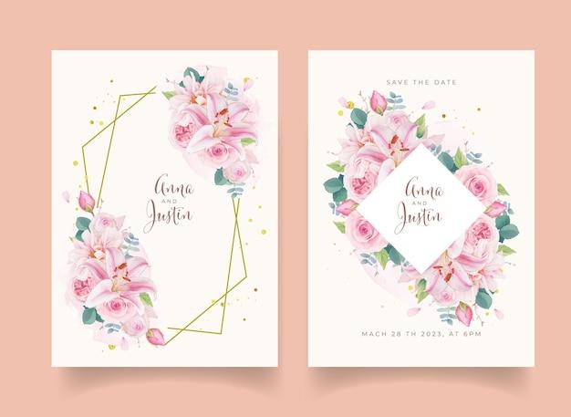 Hochzeitseinladung mit aquarell rosa rosen lilie und dahlie