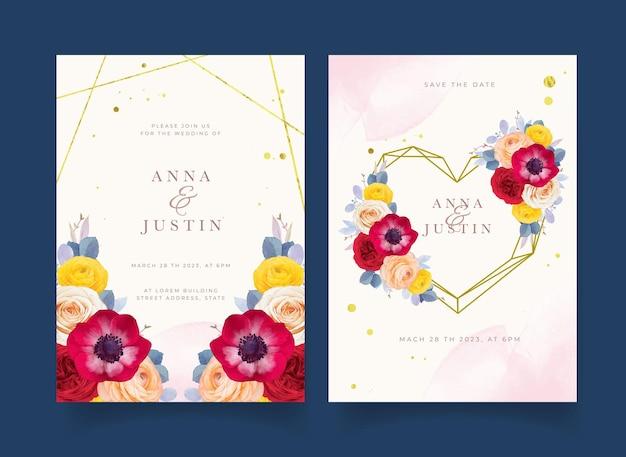 Hochzeitseinladung mit aquarell rote rose anemone und ranunkeln blume Premium Vektoren