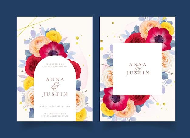 Hochzeitseinladung mit aquarell rote rose anemone und ranunkeln blume