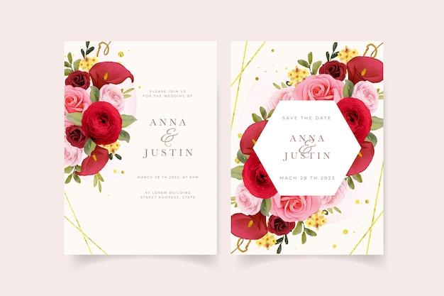 Hochzeitseinladung mit aquarell rote rose lilie und ranunkeln blume