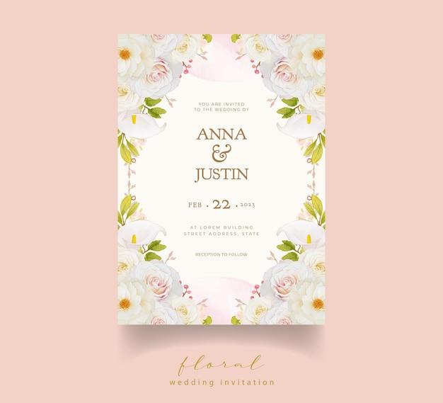 Hochzeitseinladung mit aquarell weißen rosen und calla-lilie Premium Vektoren