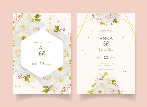 Hochzeitseinladung mit aquarell weißen rosen und calla-lilie