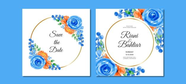 Hochzeitseinladung mit aquarellblauen orangen blumen