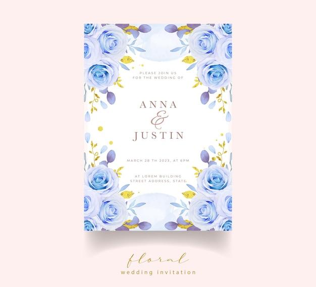 Hochzeitseinladung mit aquarellblauen rosen